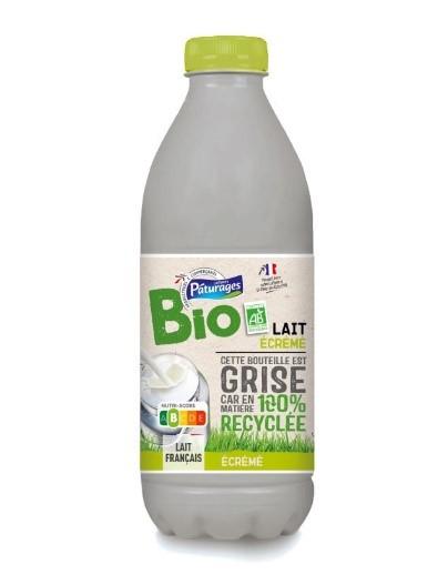 Bouteille de lait Paturage bio en 100%  rPET Opaque